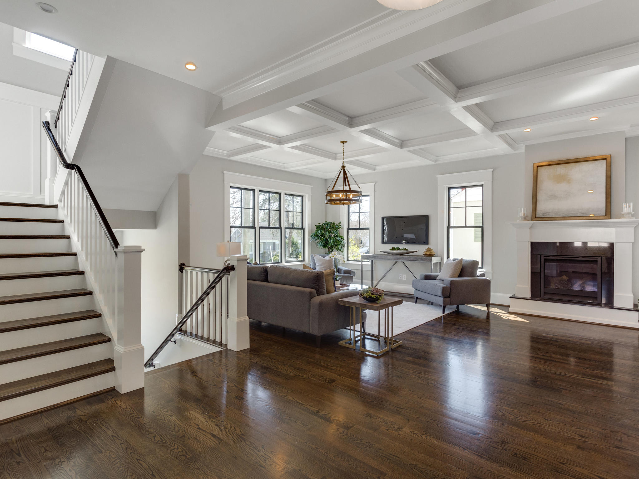Family room with coffered ceiling. Custom Home by Custom Builder, North Arlington, VA 22207