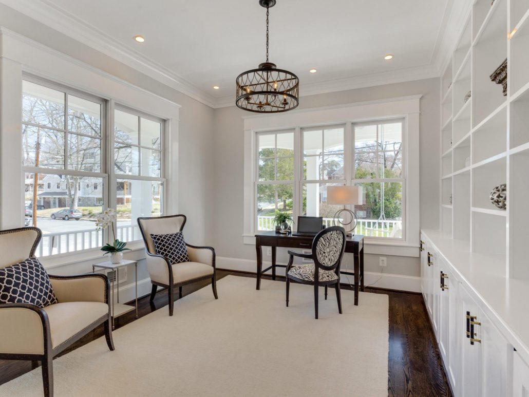 Library with corner views and built in bookcases. Custom Home by Custom Builder, North Arlington, VA 22207