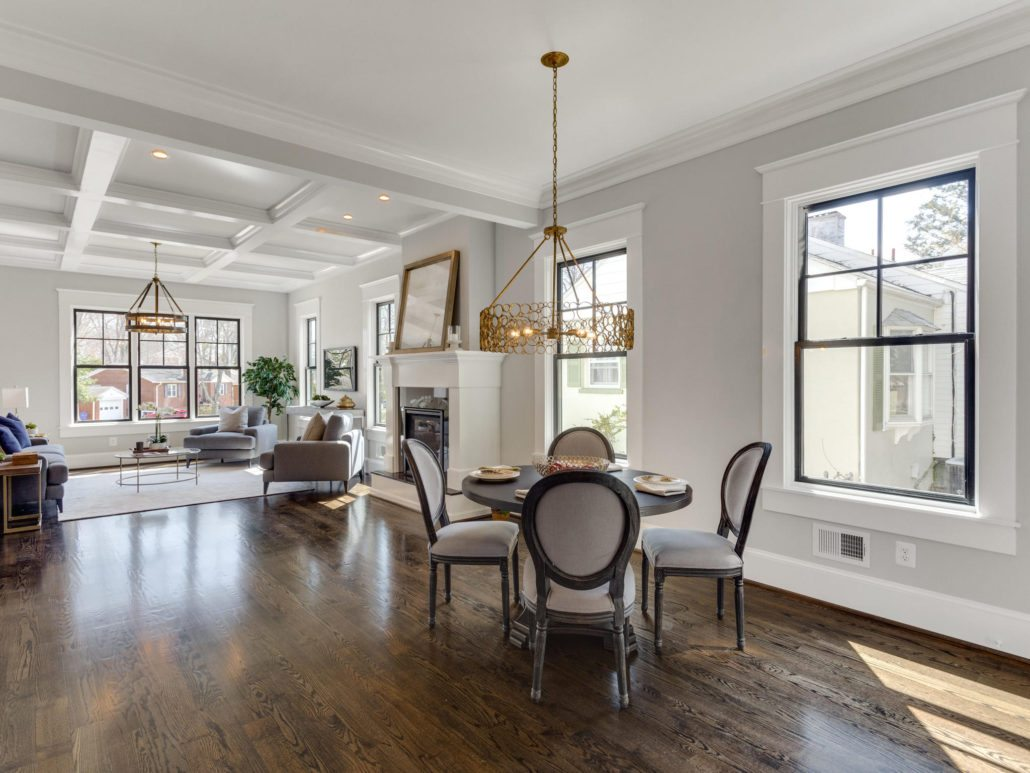 Breakfast area with fabulous light fixture. Custom Home by Custom Builder, North Arlington, VA 22207