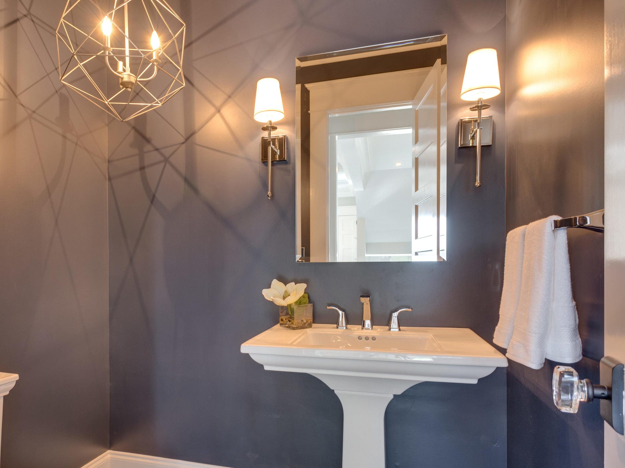 Powder Room with Blue Jeans Navy paint, Pedestal sink, and special lighting. Custom Home by Custom Builder, North Arlington, VA 22207