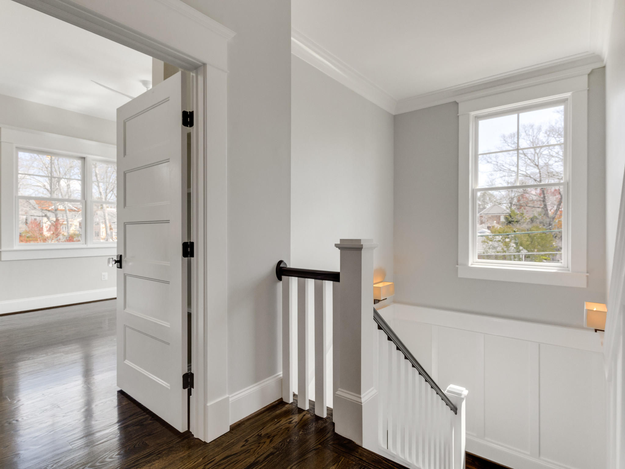 Upper floor. Top of landing. 10 foot ceilings on all 3 levels. Custom Home by Custom Builder, North Arlington, VA 22207