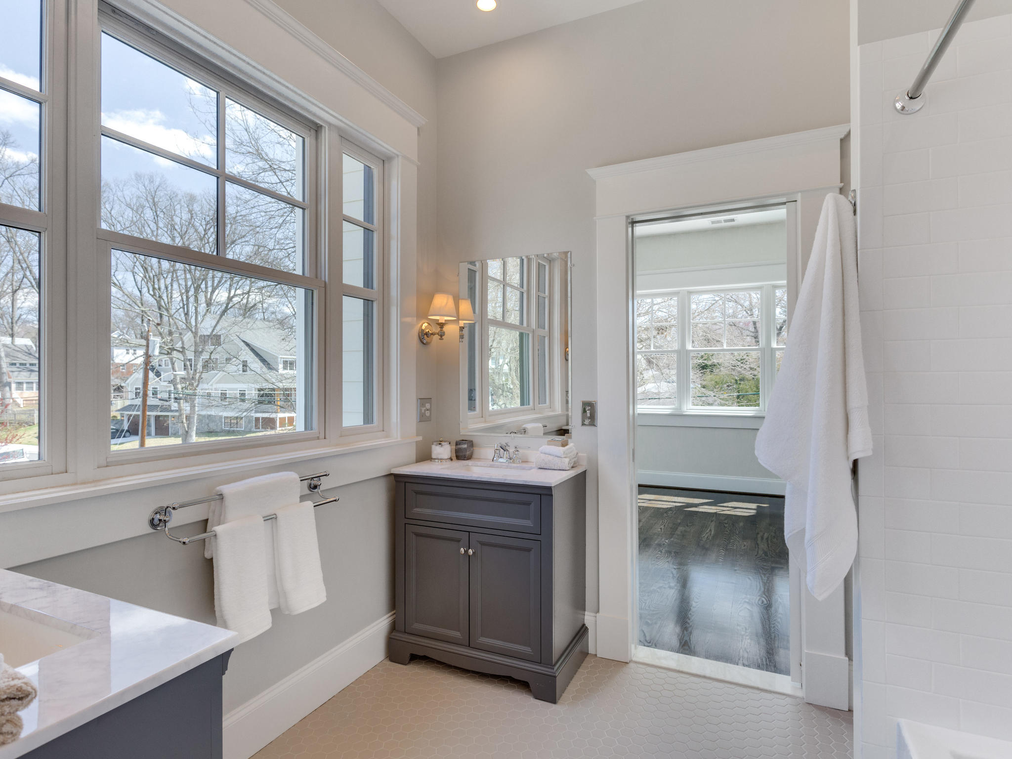 Jack and Jill bathroom with matching vanities. Custom Home by Custom Builder, North Arlington, VA 22207