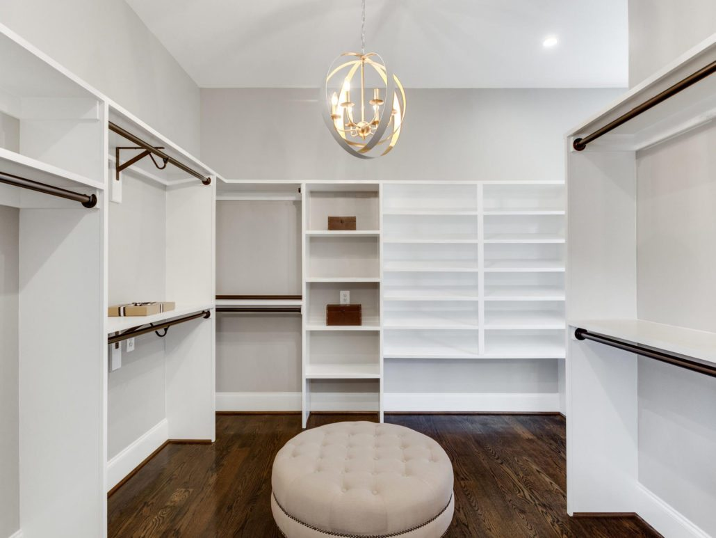 Double Master walk in closet with 2 chandeliers and built in shelving. Custom Home by Custom Builder, North Arlington, VA 22207