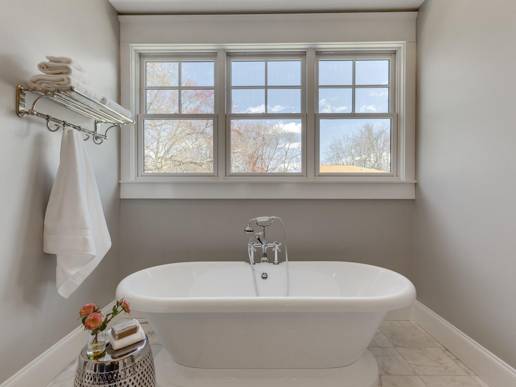 "Master tub with ""train rack"" for towels and ""telephone"" faucet. Custom Home by Custom Builder, North Arlington, VA 22207"