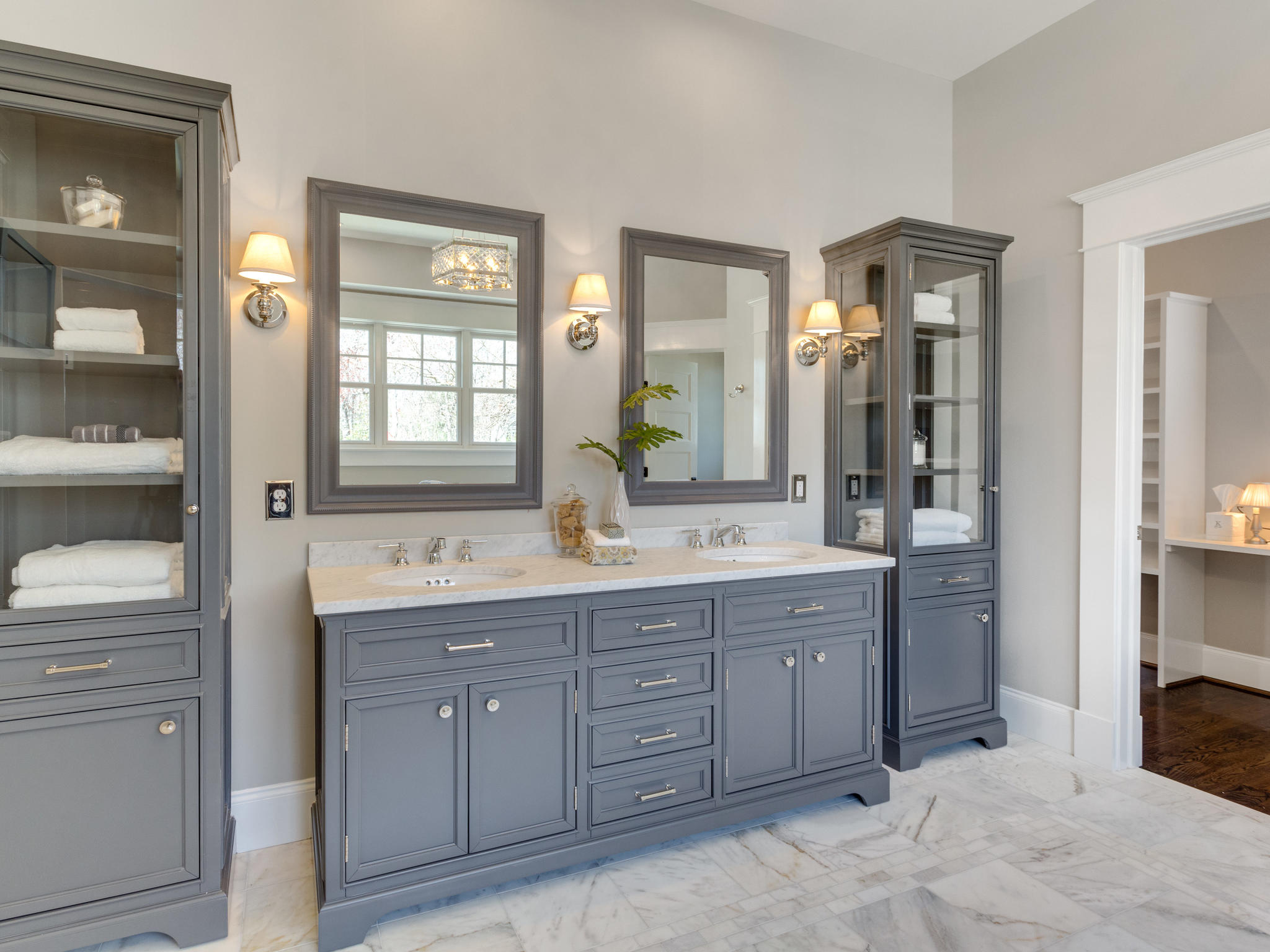 Master Bath Cabinets and towers. Custom Home by Custom Builder, North Arlington, VA 22207
