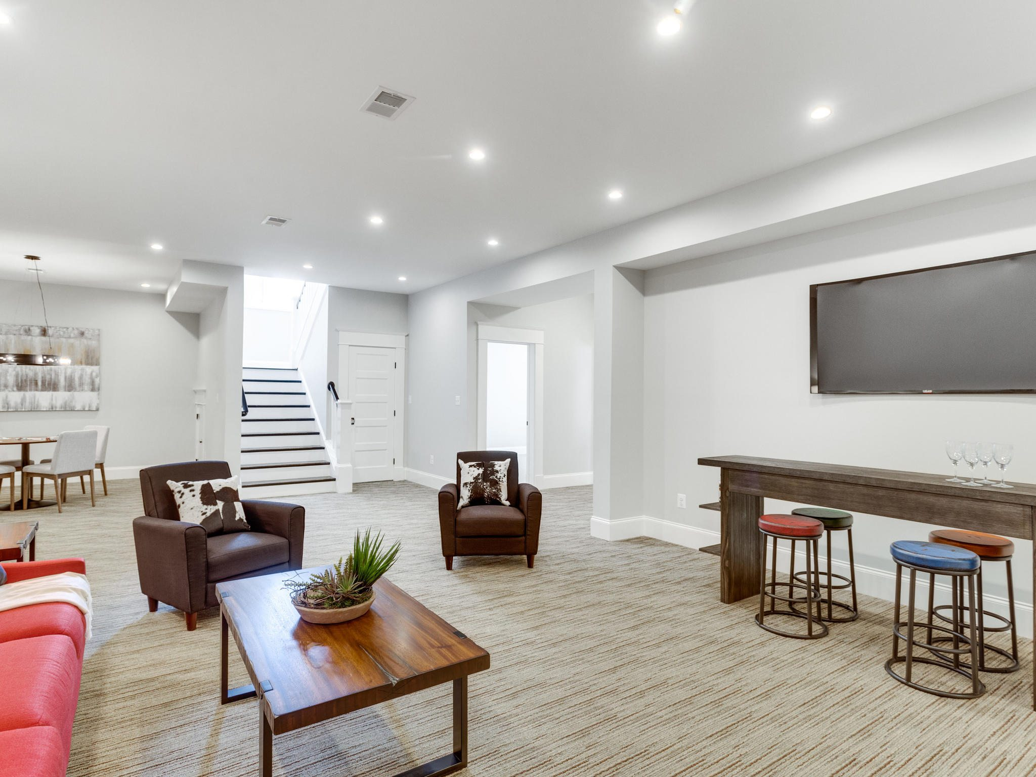 Basement with space for games, television viewing, and storage. Custom Home by Custom Builder, North Arlington, VA 22207