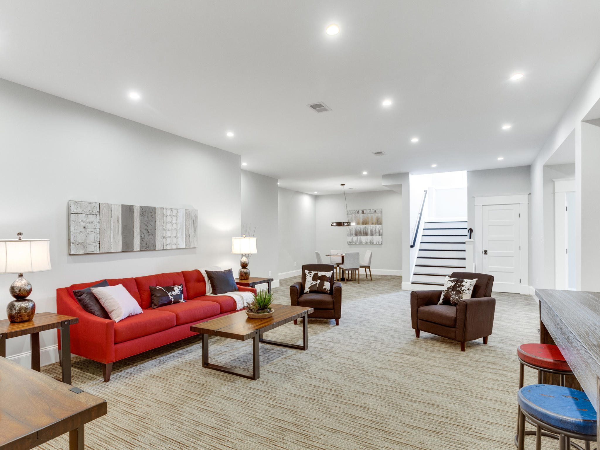 Basement with 10 foot ceilings. Custom Home by Custom Builder, North Arlington, VA 22207