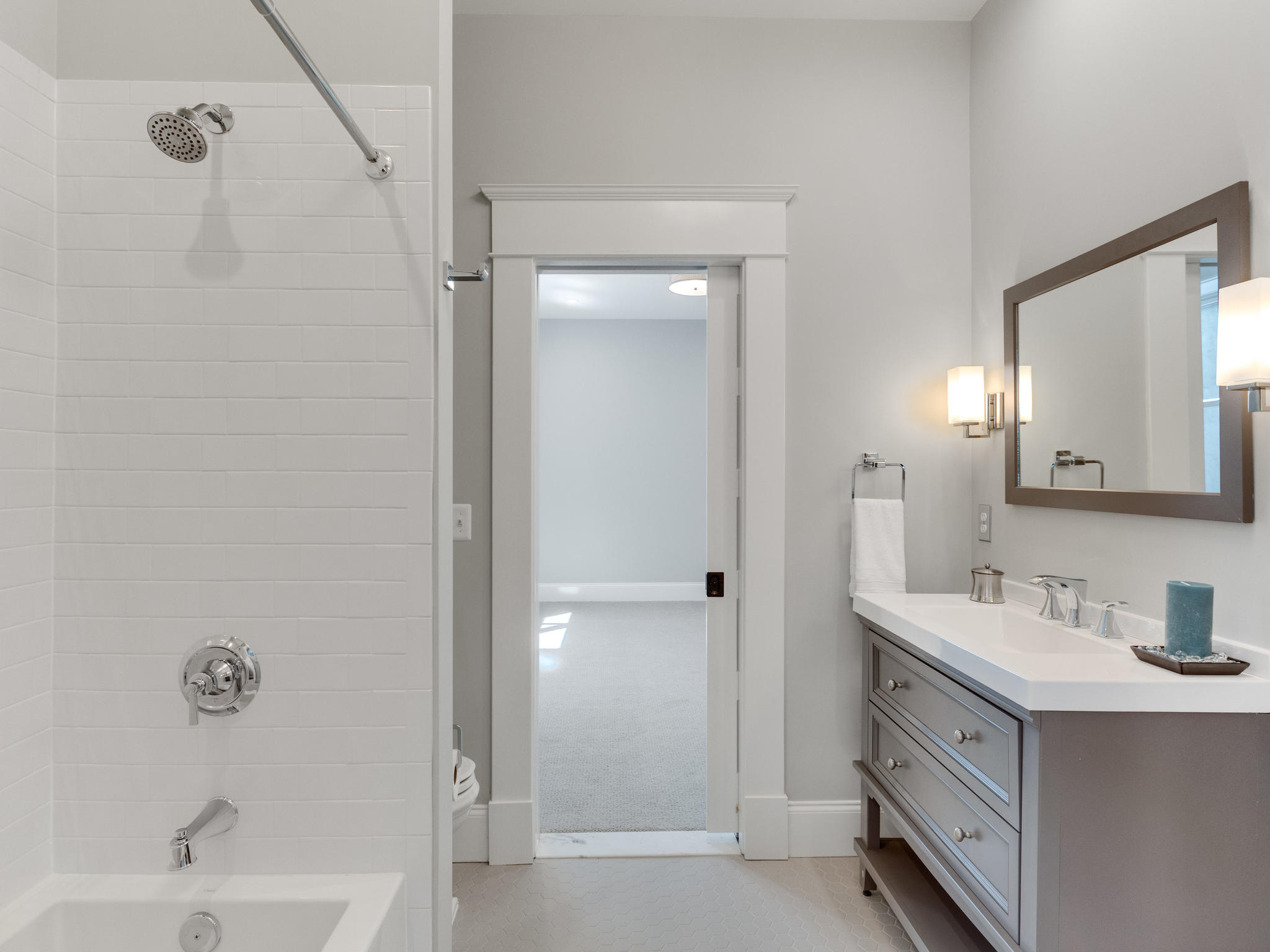 Lower level full bath. Custom Home by Custom Builder, North Arlington, VA 22207