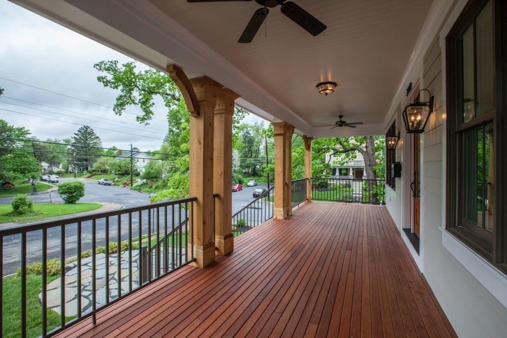 Spacious front porch with mahogany decking and cedar posts. Custom Home by Custom Builder, North Arlington, VA 22207