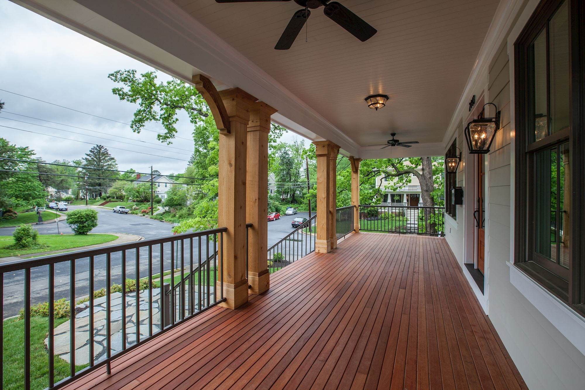 Spacious front porch with mahogany decking and cedar posts. Custom Home by Custom Builder, North Arlington, VA 22207