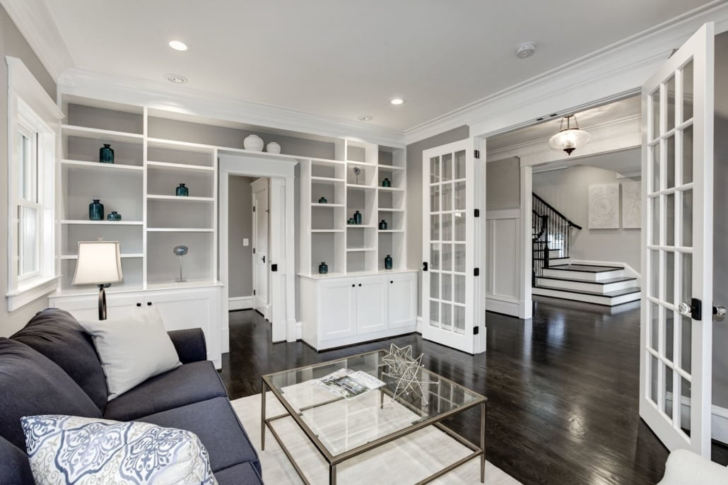 Library has closet and private entrance to full bath enabling this as a first floor en suite bedroom. Custom Home by Custom Builder, North Arlington, VA 22207