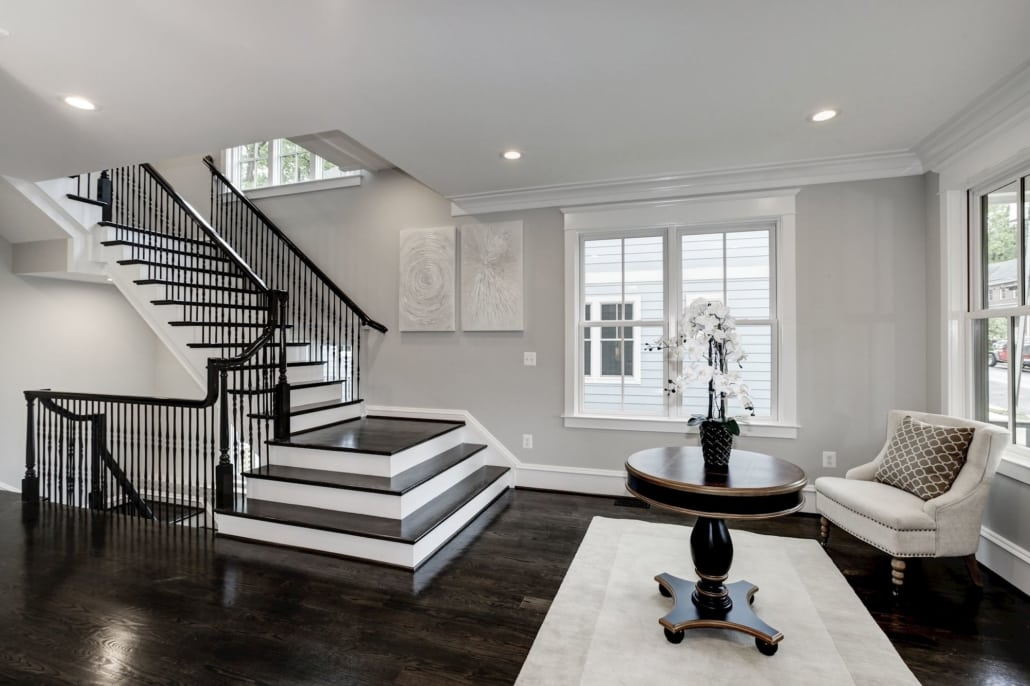 Sitting room and floating staircase. Custom Home by Custom Builder, North Arlington, VA 22207