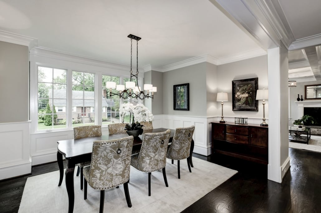 Large formal Dining room with beautiful light fixture and chair height paneling. Custom Home by Custom Builder, North Arlington, VA 22207