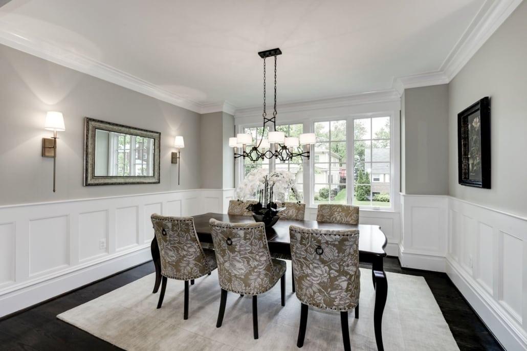 Dining room has tree top views. Custom Home by Custom Builder, North Arlington, VA 22207