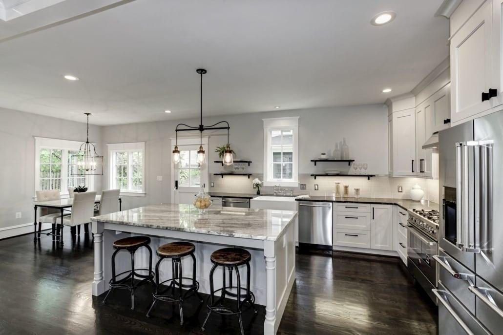 Eat in Kitchen with natural light, Italian professional range. Farm sink, 2 dishwashers. Custom Home by Custom Builder, North Arlington, VA 22207