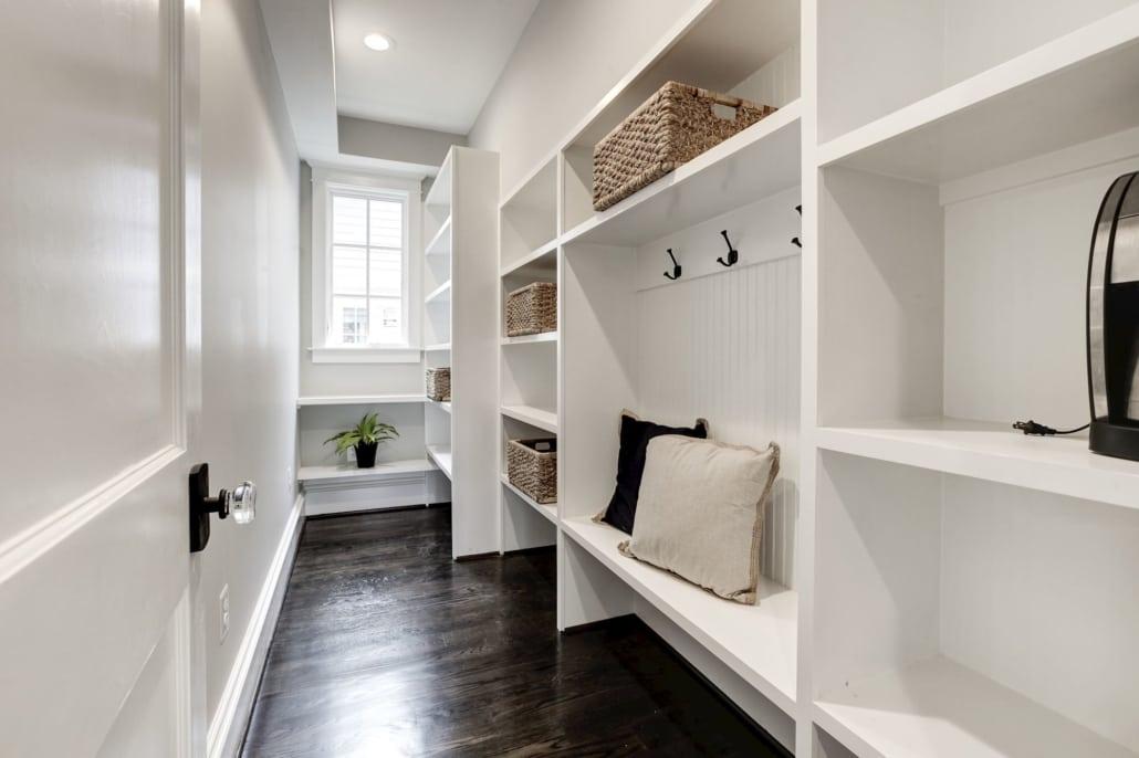 Kitchen pantry with custom shelving and 2nd mud room. Custom Home by Custom Builder, North Arlington, VA 22207
