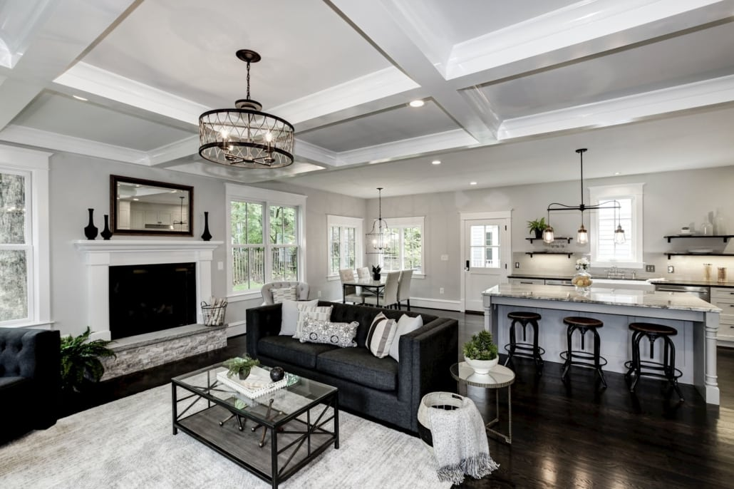 Great room, Family room with coffered ceiling, fireplace, and tree views. Custom Home by Custom Builder, North Arlington, VA 22207