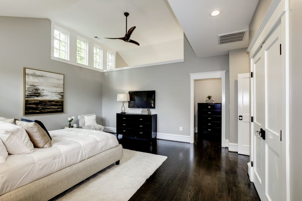 Master Bedroom with dramatic ceiling and high private windows. 2 Closets, balcony, 5 piece master bath. Custom Home by Custom Builder, North Arlington, VA 22207