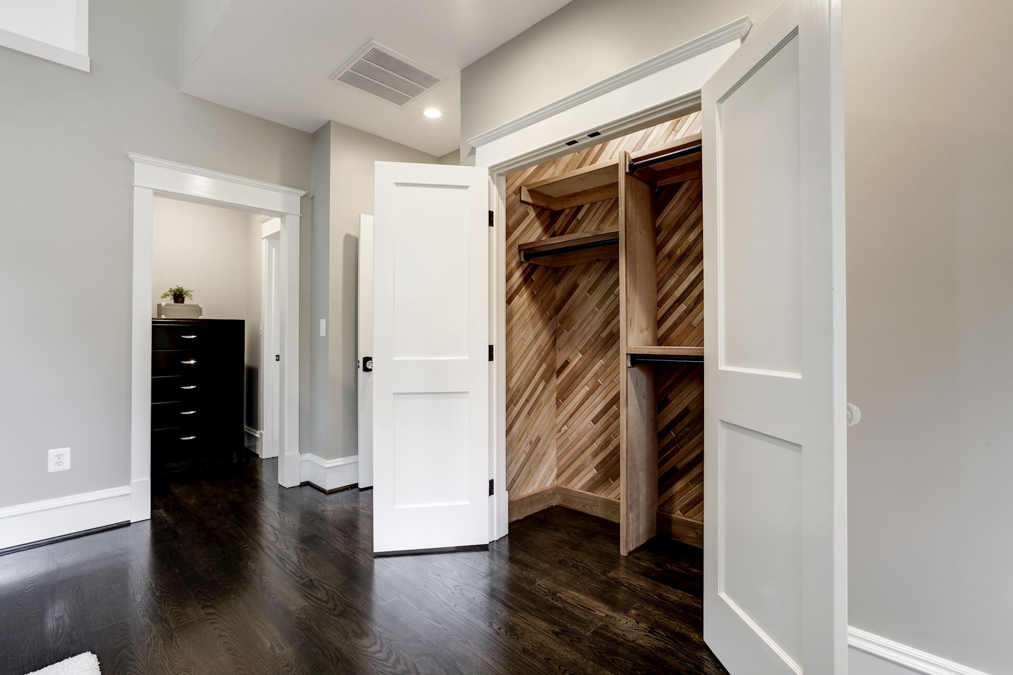 Cedar closet. One of 2 master closets. Custom Home by Custom Builder, North Arlington, VA 22207