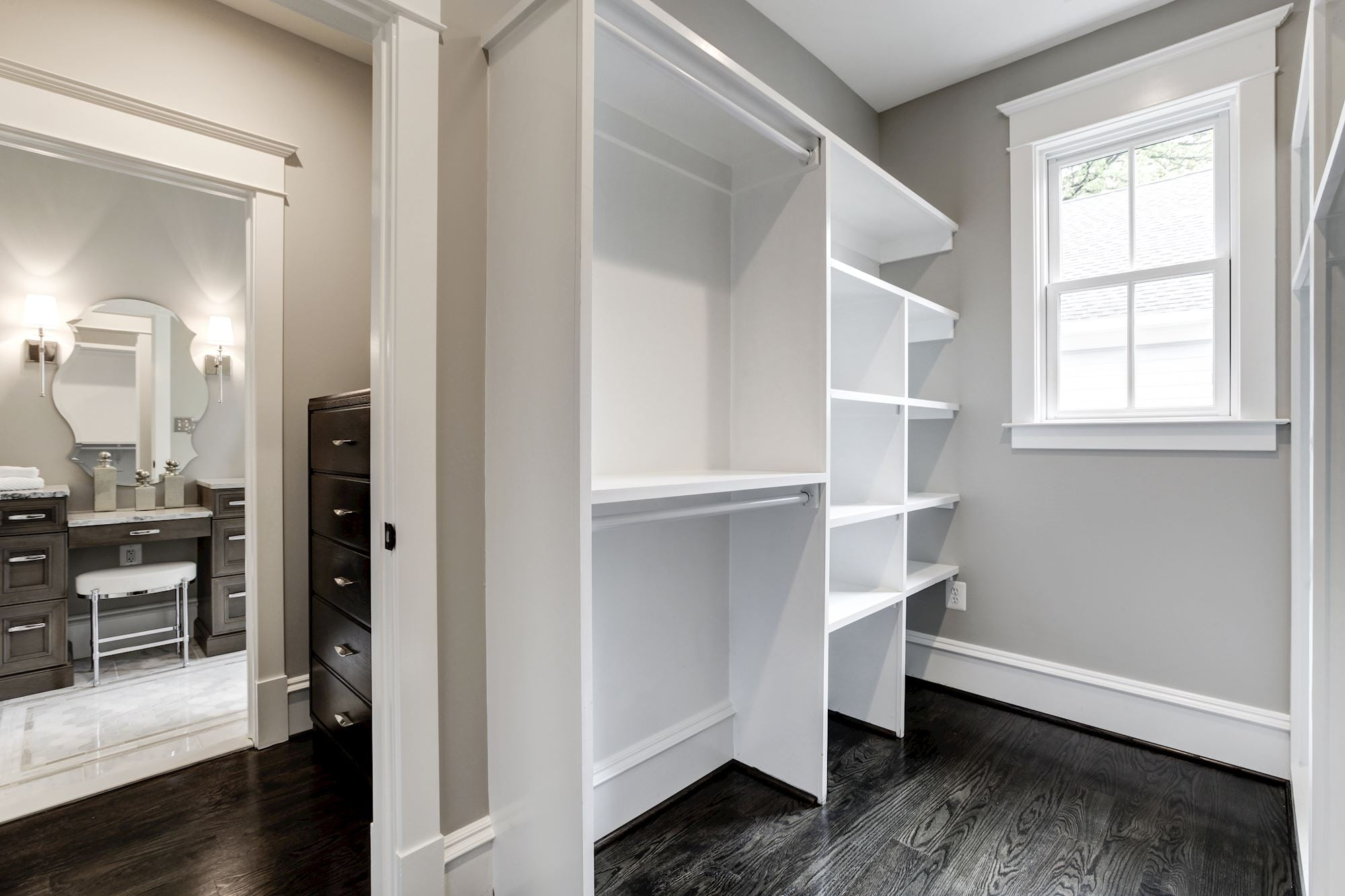 Master closet, walk in. One of 2 master closets Custom Home by Custom Builder, North Arlington, VA 22207