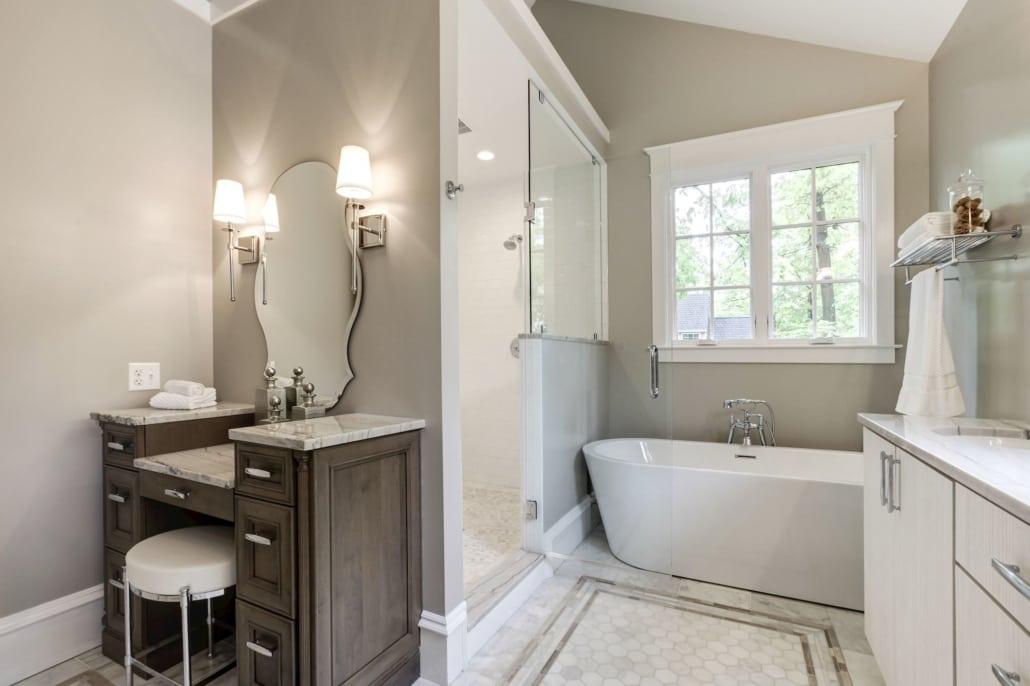 Master bath with shower and soaking tub. Heated marble floors. Sitting area. Custom Home by Custom Builder, North Arlington, VA 22207