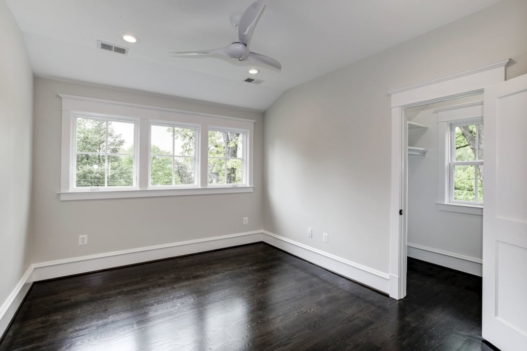 Upper level bedroom with walk in closet and jack and jill bath. Custom Home by Custom Builder, North Arlington, VA 22207