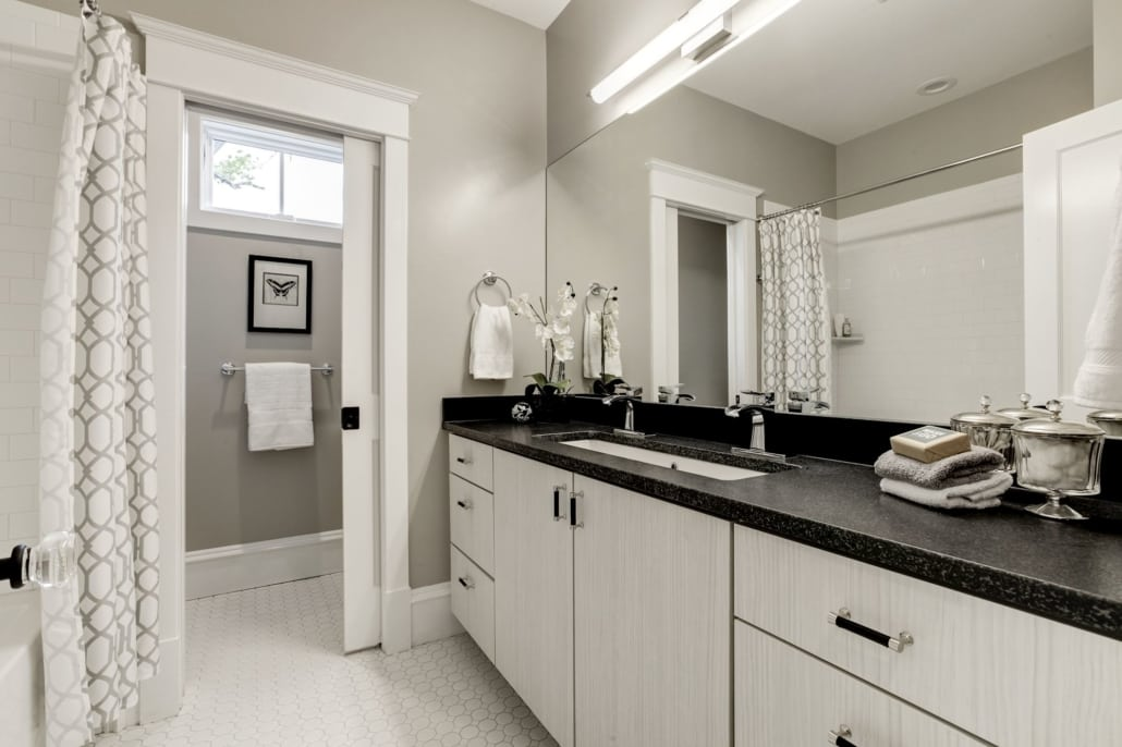"""Jack and Jill 2 chamber bathroom with one """"trough"""" sink with 2 faucets. Custom Home by Custom Builder, North Arlington, VA 22207"""