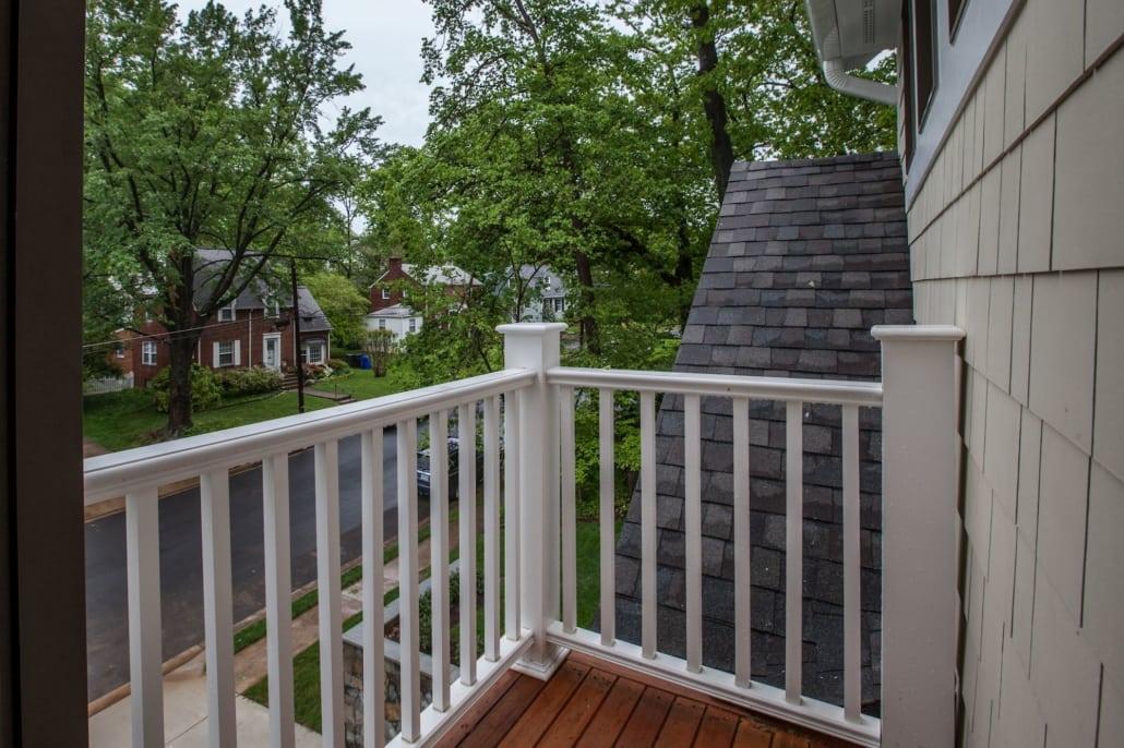 Master suite balcony with tree top views. Custom Home by Custom Builder, North Arlington, VA 22207