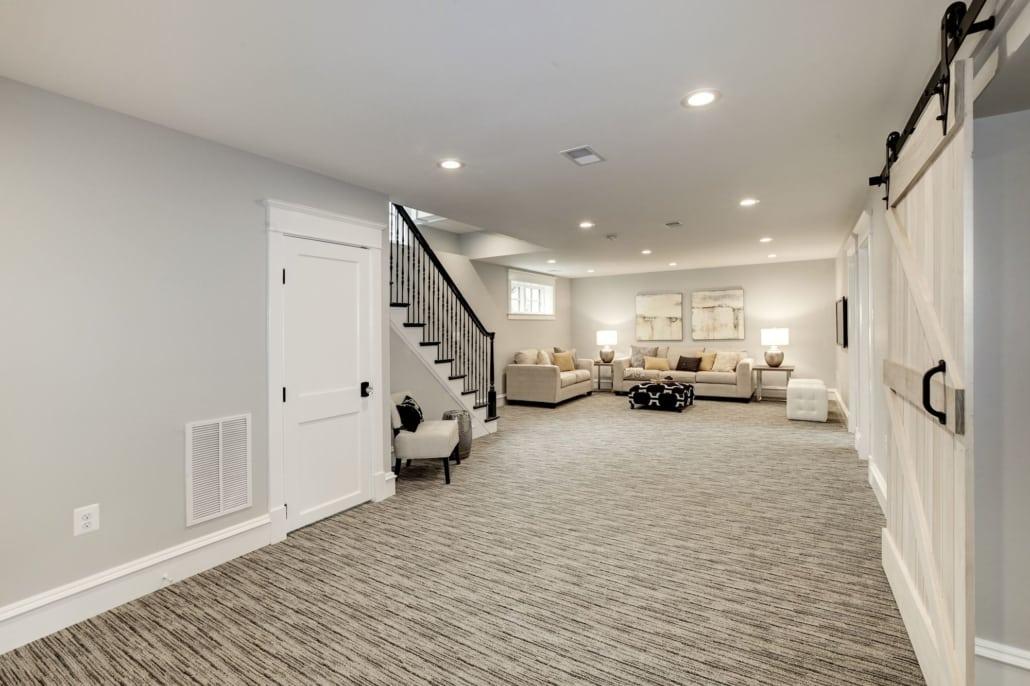 Lower level view from garage entrance. Custom Home by Custom Builder, North Arlington, VA 22207
