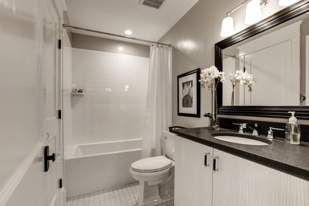 Lower level full bath. Custom Home by Custom Builder, North Arlington, VA 22207