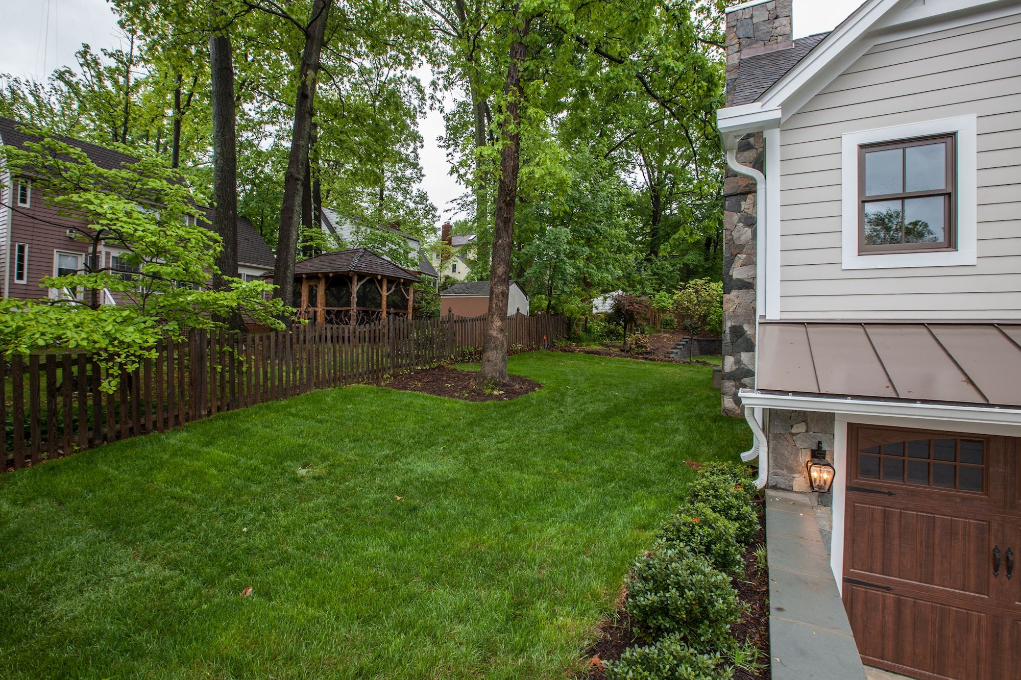Back yard. Custom Home by Custom Builder, North Arlington, VA 22207