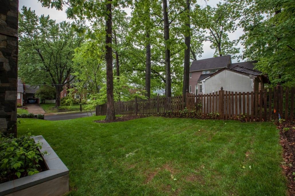 Back yard. Custom Home by Custom Builder, North Arlington, VA 22207