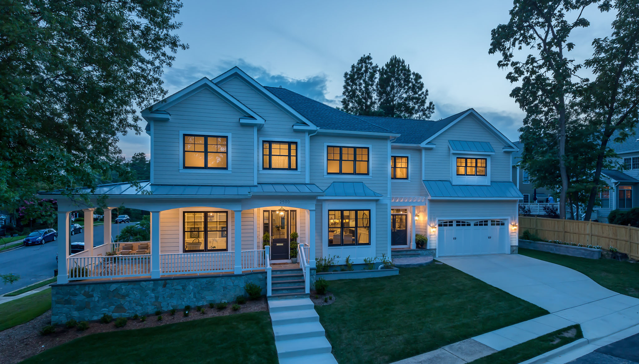 Come home from a long day to a beautifully lit home. Custom Home by Custom Builder, North Arlington, VA 22207