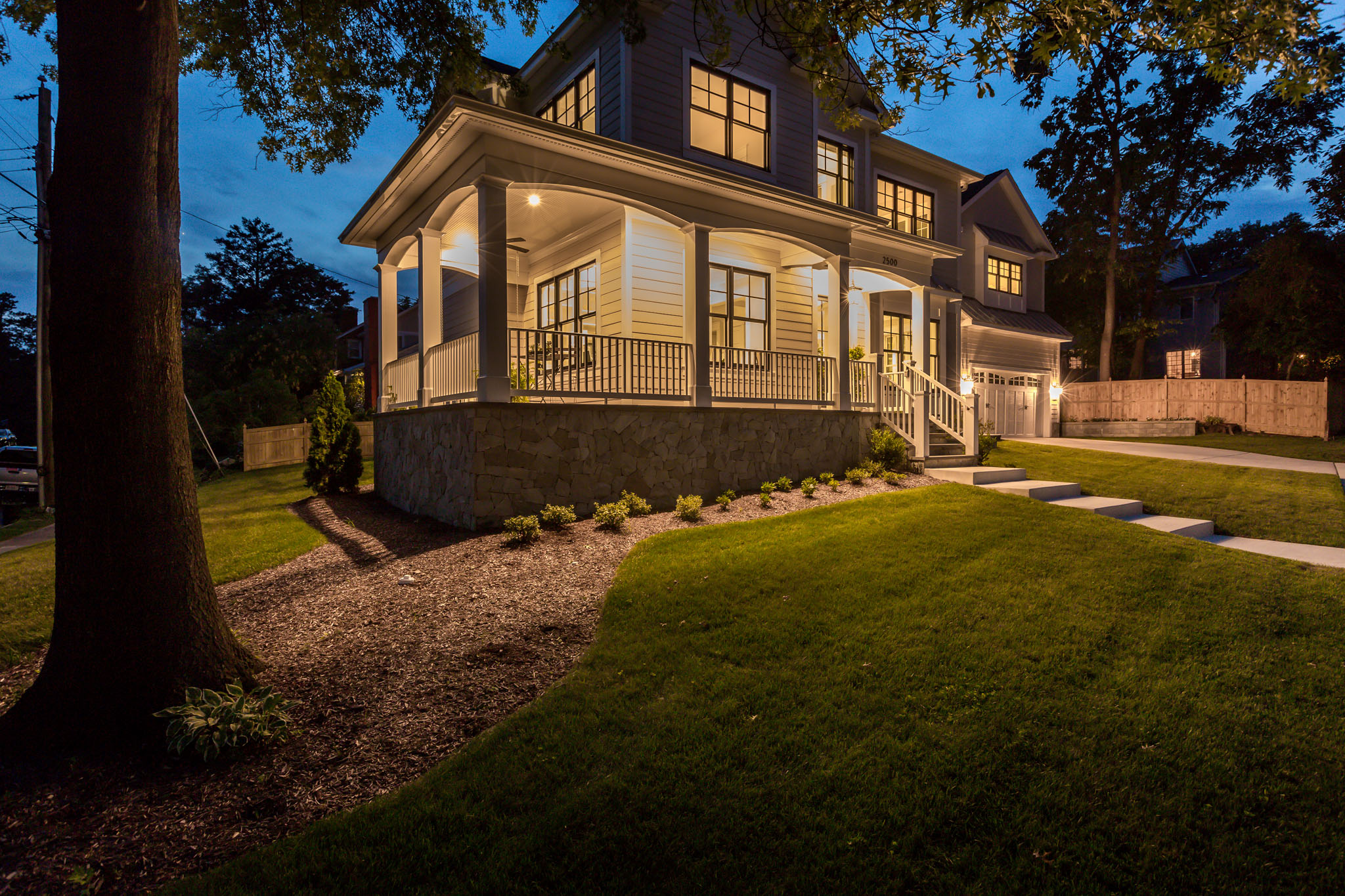 An inviting front porch to greet guests or dine el fresco. Custom Home by Custom Builder, North Arlington, VA 22207