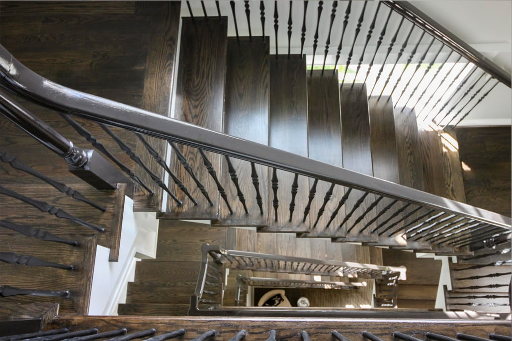 View from 3rd floor to basement level. Custom Home by Custom Builder, North Arlington, VA 22207