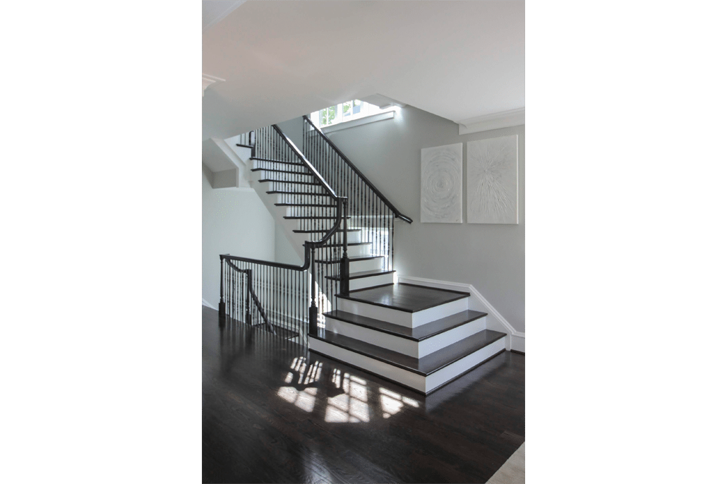 Floating staircase with natural light above and below. Custom Home by Custom Builder, North Arlington, VA 22207