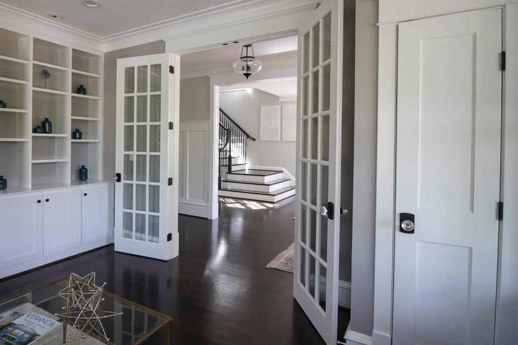 Sunny view from inside Library/Bedroom. Custom Home by Custom Builder, North Arlington, VA 22207