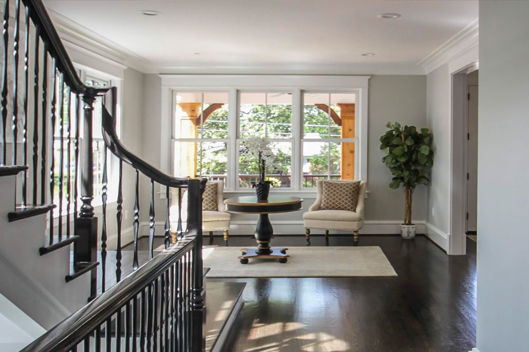 View of sitting room and front porch from stair hall. Custom Home by Custom Builder, North Arlington, VA 22207