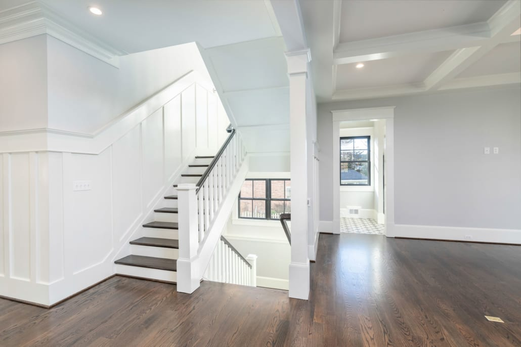 Open Staircase with entrance to Mud Room on the right.