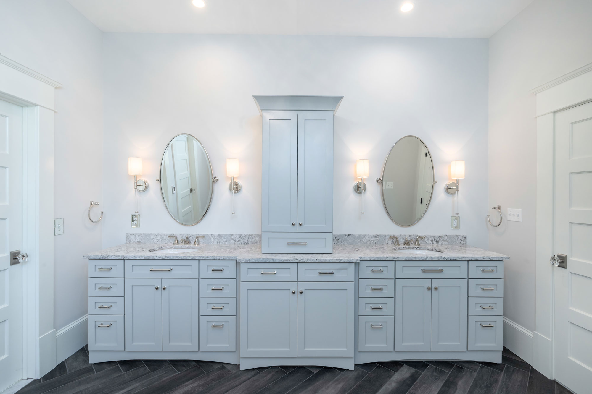 Double Vanity with center tower in Master Bath.