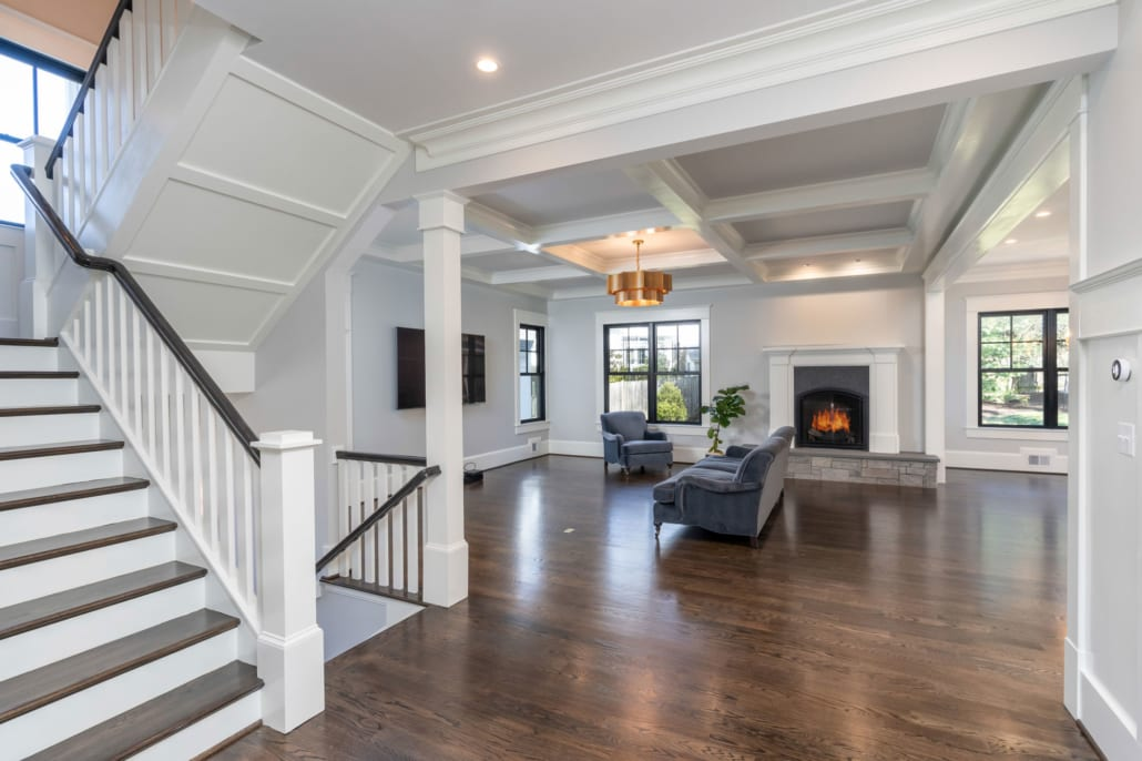 Interior trim and custom molding with high baseboards.